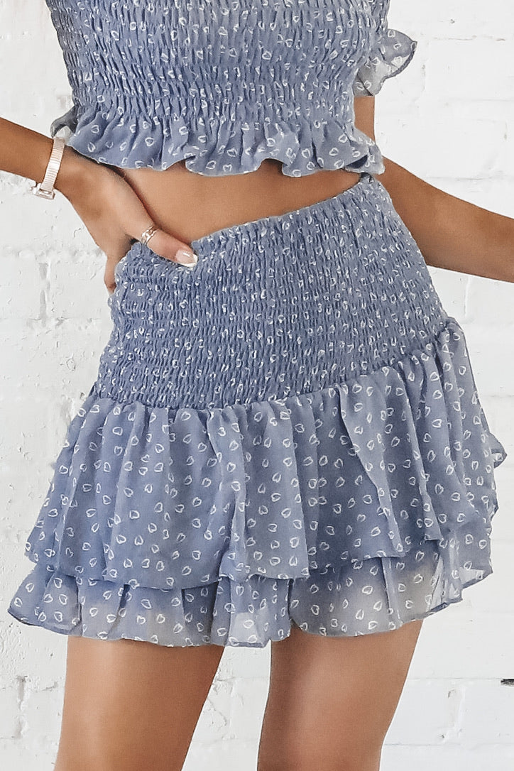 Set Sail Blue Smocking Skirt