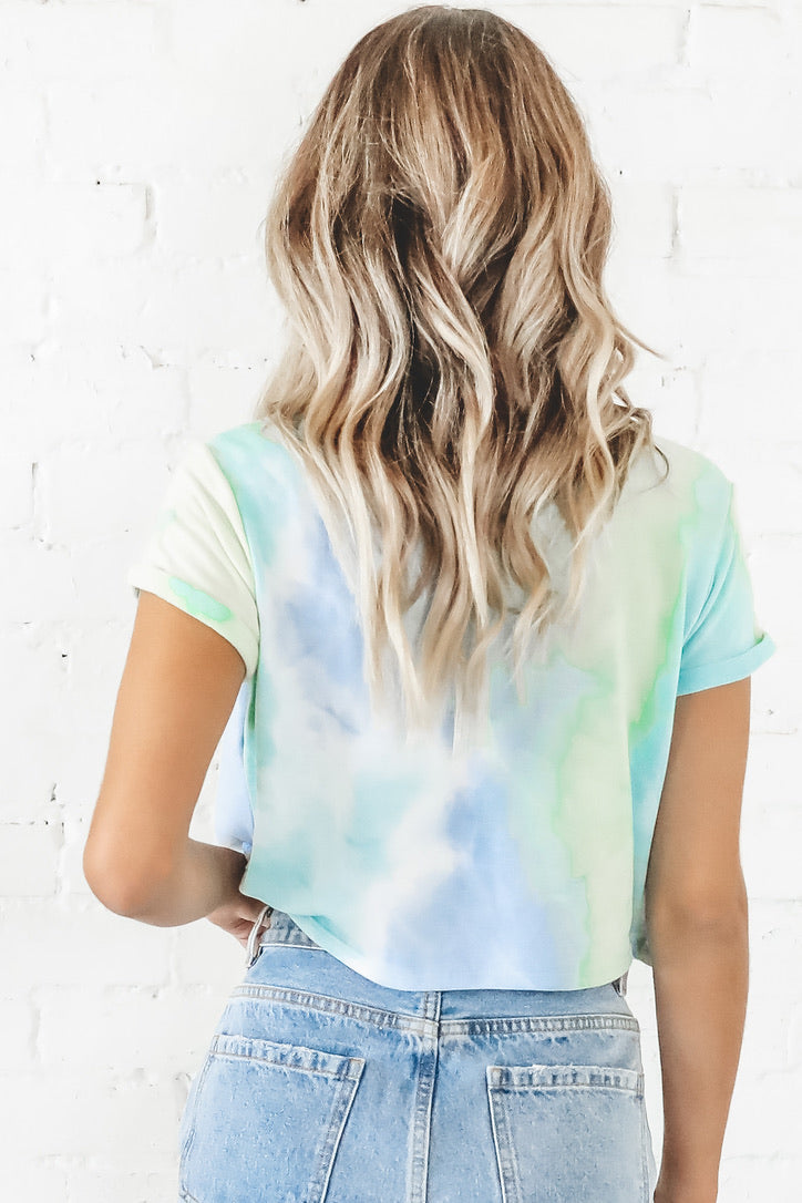 Animal Kingdom Queen Blue Green Tie Dye Crop