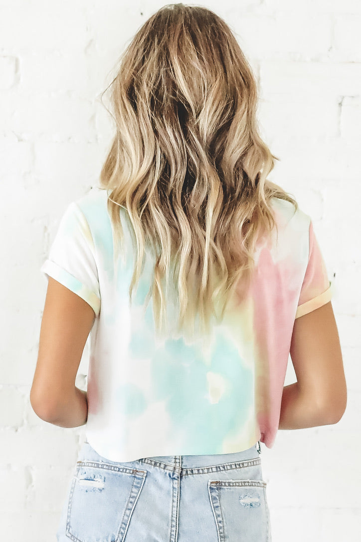 Animal Kingdom Queen Pink Yellow Tie Dye Crop