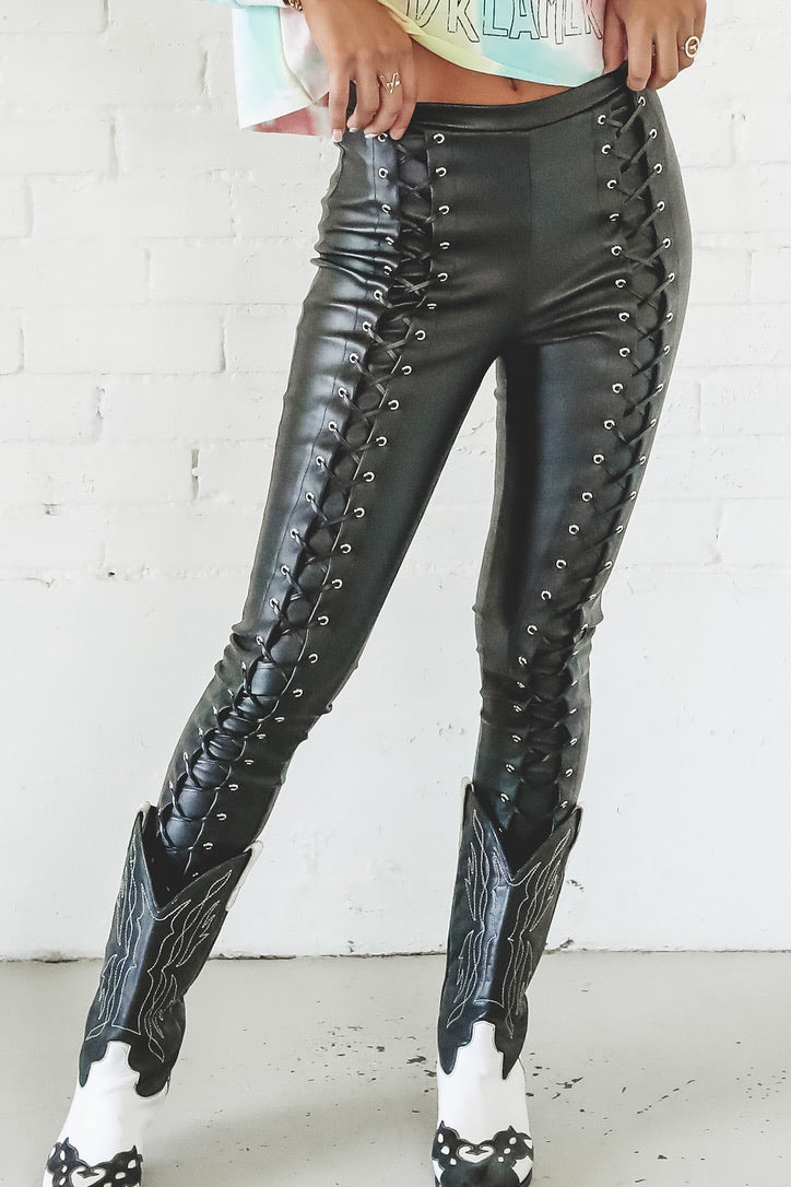 Bad Babe Black Lace Up Pants