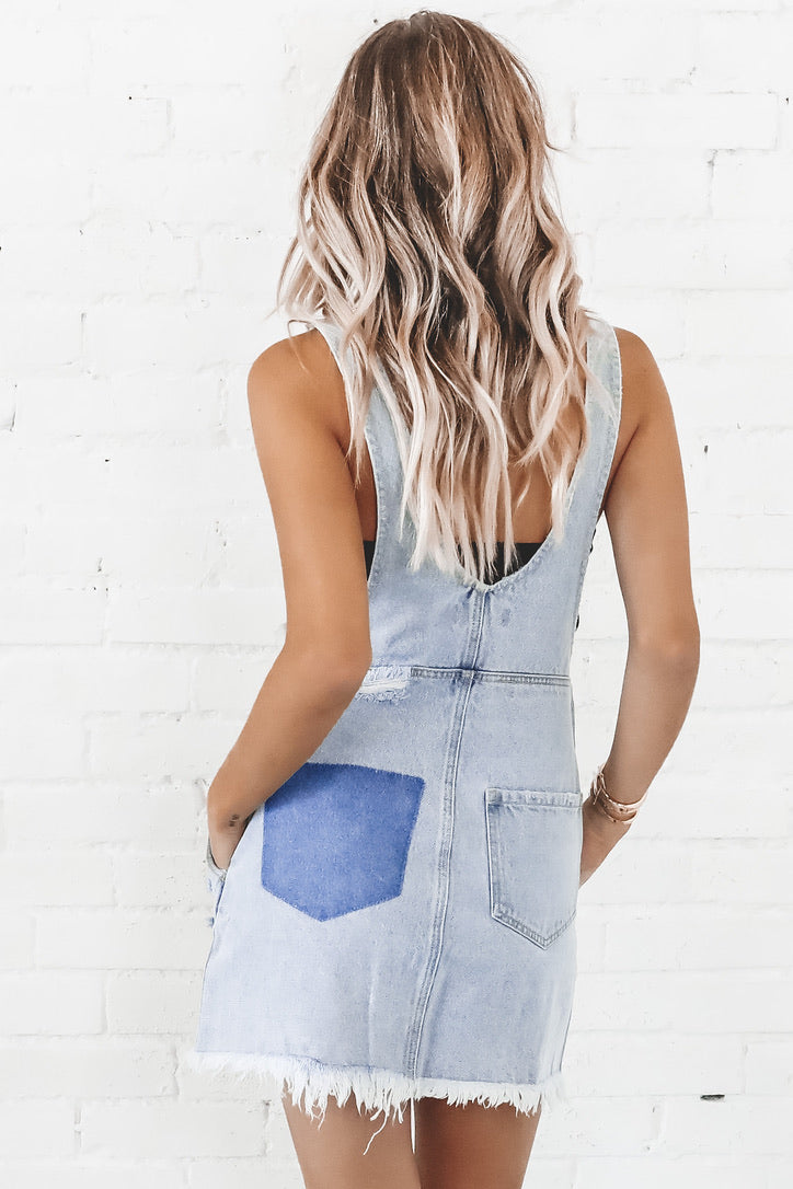 MINKPINK Cruise Denim Pinnie Dress