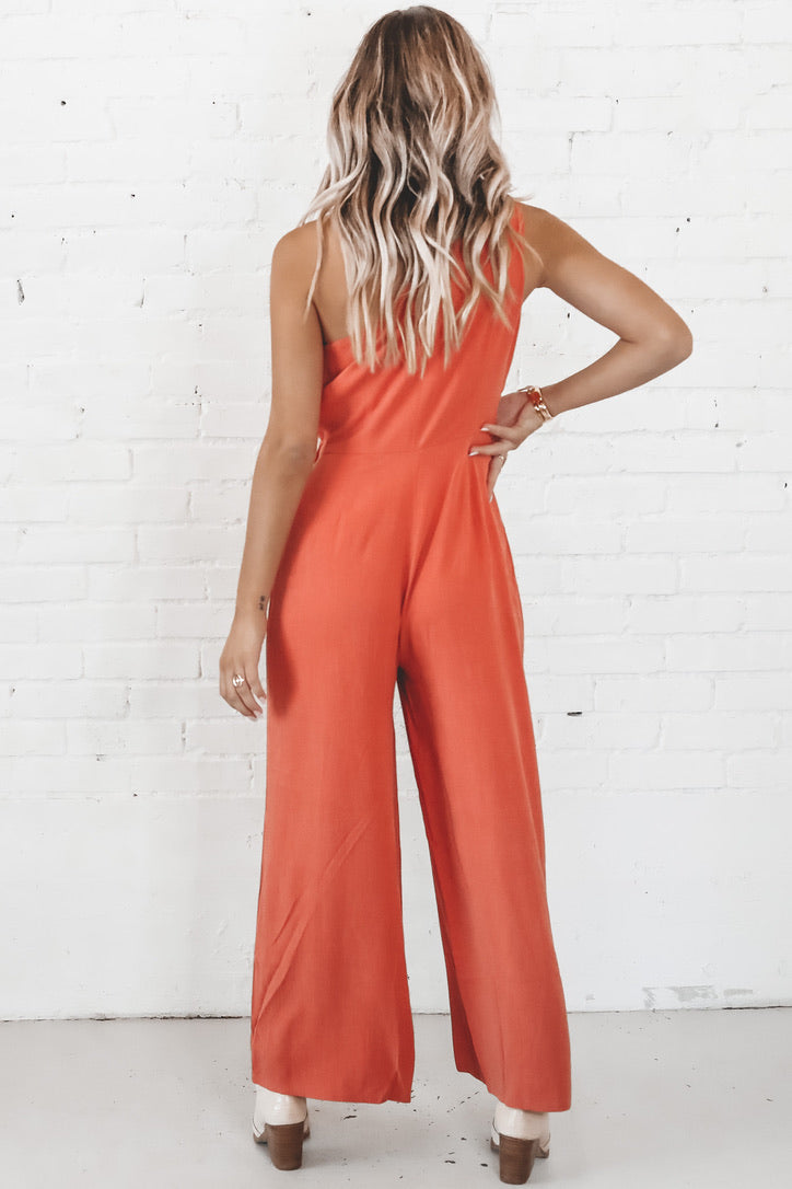 MINKPINK Burnt Orange One Shoulder Jumpsuit