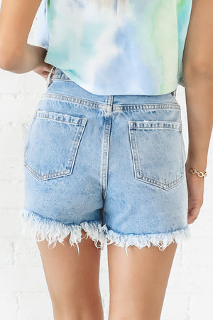 MINKPINK Cruise Light Wash Denim Shorts