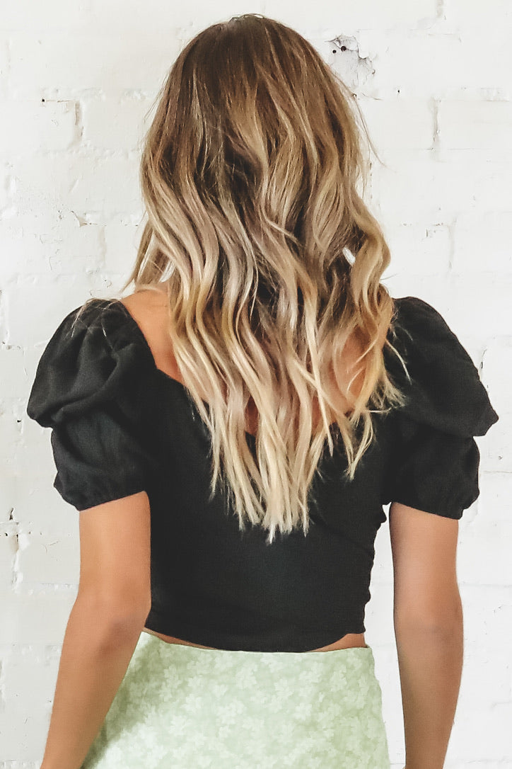Tongue Tied Black Wrap Top