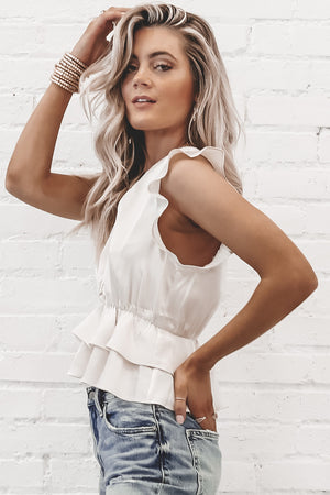 SALTWATER LUXE Atlanta Top - Stone Flutter Sleeve In White