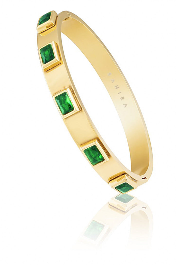 SAHIRA Gold Emerald Band Bracelet
