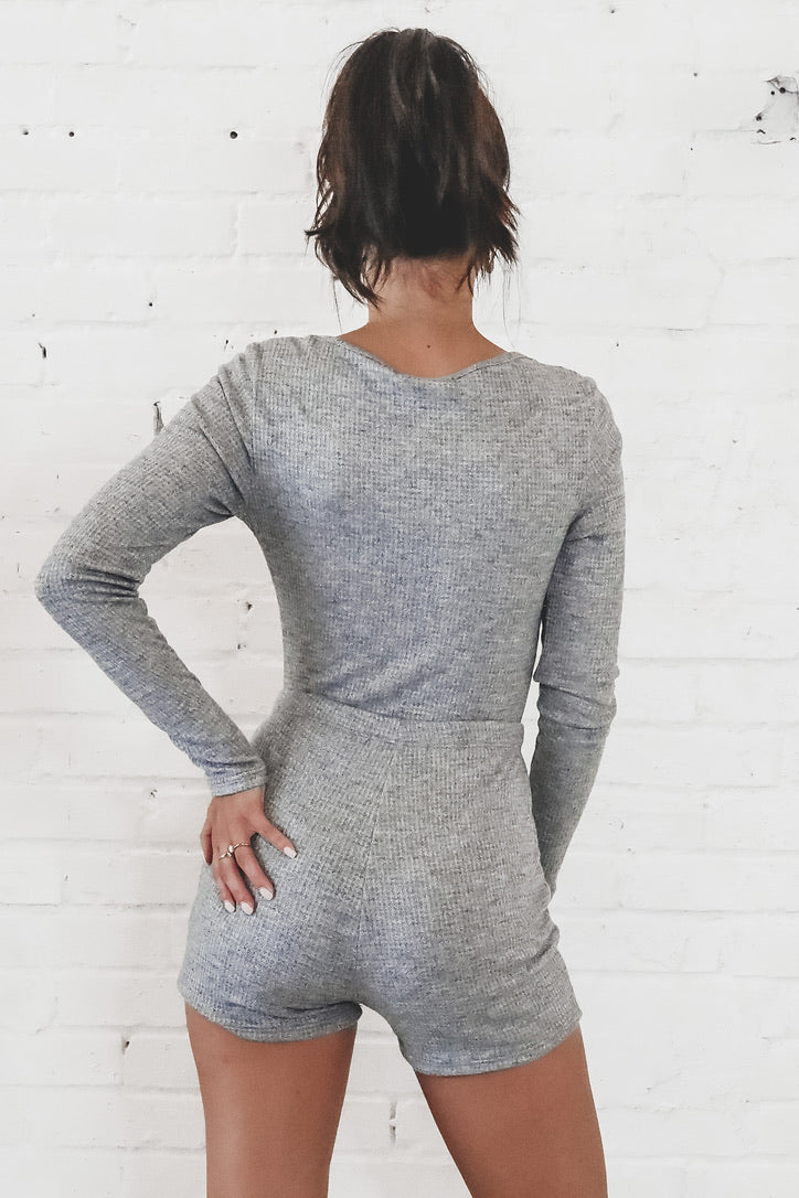 Hey John Long Sleeve Gray Lounge Set