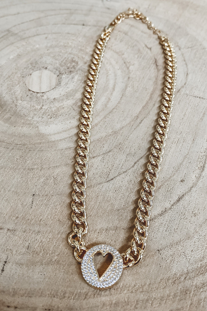 SAHIRA 18k Gold Pave Heart Chain Necklace
