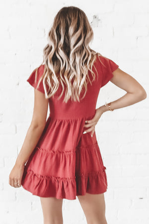 Field Of Dreams Burgundy Tiered Dress