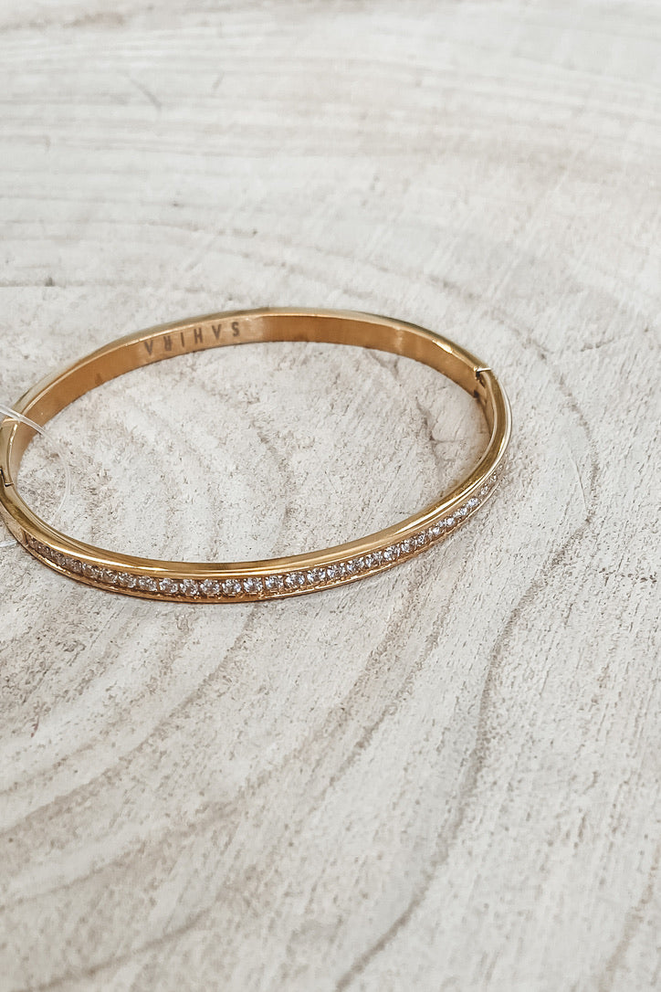 SAHIRA 18k Gold Lara Pave Gold Bangle