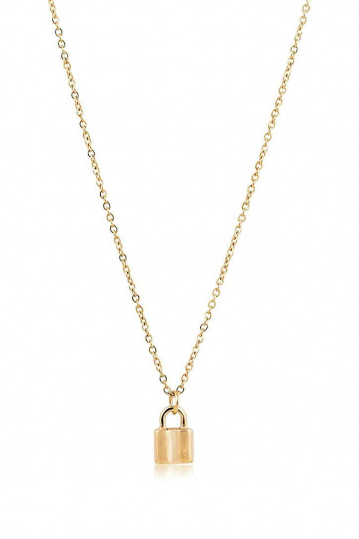 SAHIRA 18k Gold Mini Lock Necklace