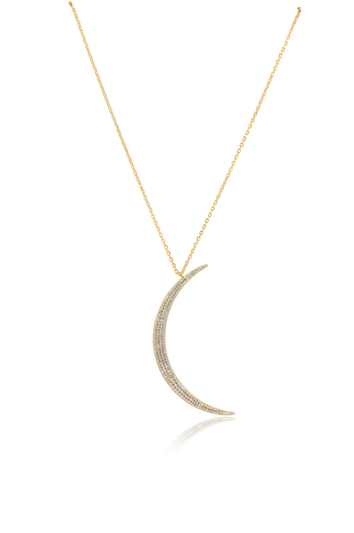 SAHIRA 14k Gold Pave Moon Necklace