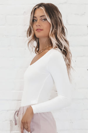 BAYSE White Square Neck Bodysuit
