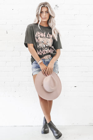 Long Live Rock N Roll Cheetah Distressed Graphic Tee