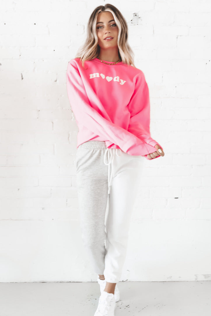 Moody Hot Pink Crop Sweatshirt