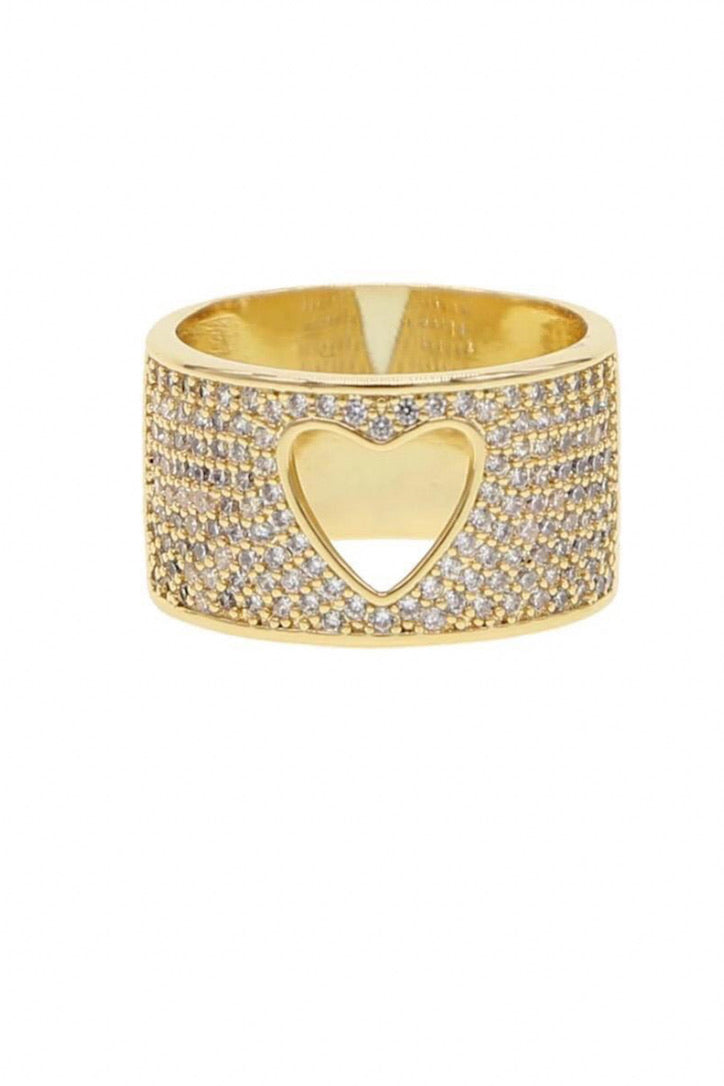 SAHIRA 14k Gold Pave Heart Ring