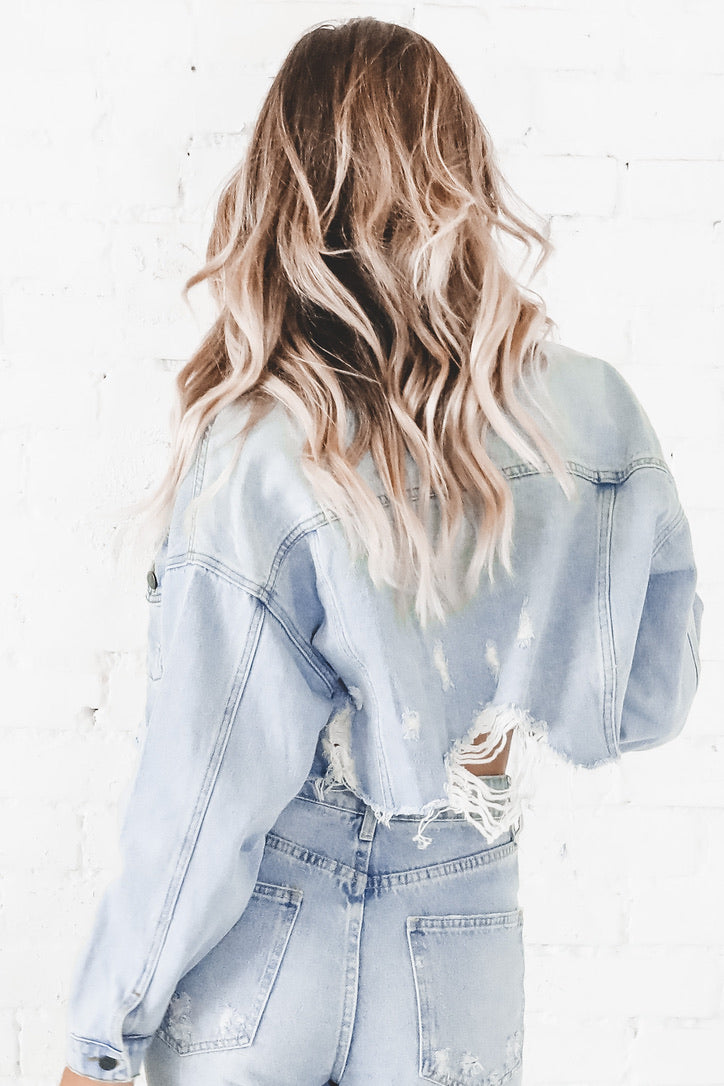 Kick The Dust Up Cropped Distressed Denim Jacket