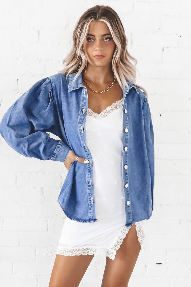 Baby Girl Balloon Sleeve Denim Top