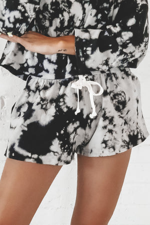 In The Moment Black Tie Dye Lounge Shorts