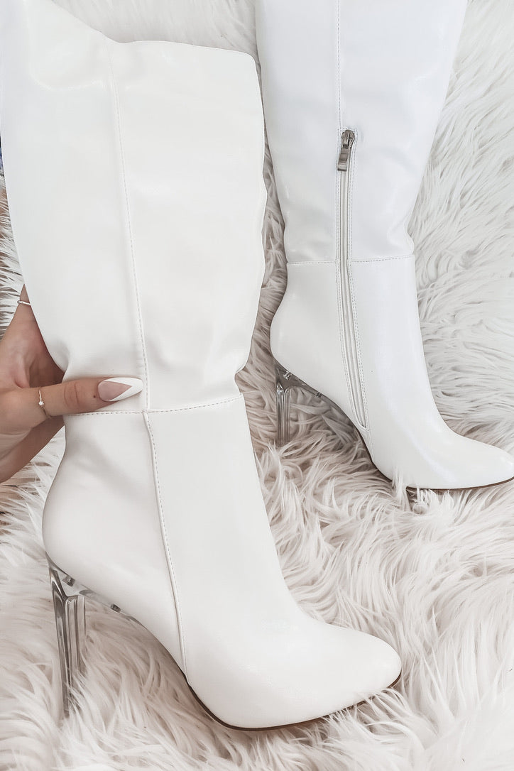 Let's Disco White Leather Knee High Boots