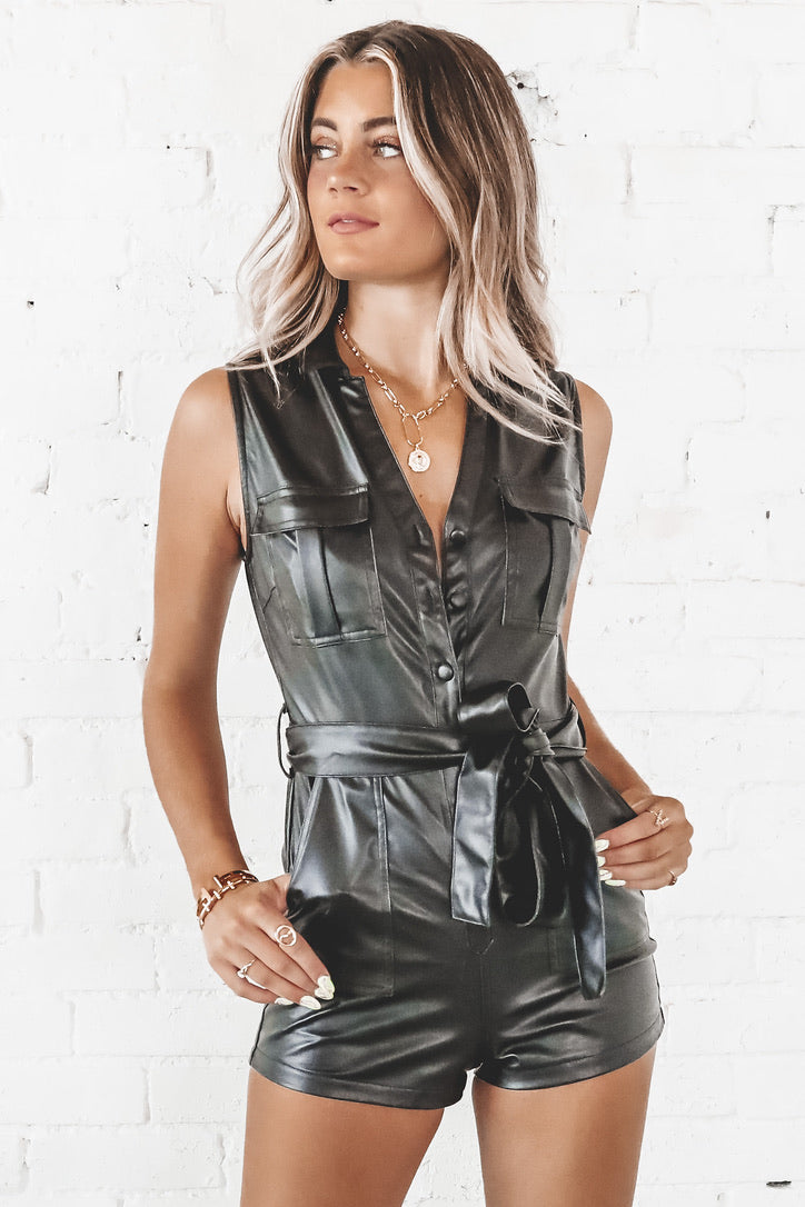 Angel Eyes Black Leather Romper