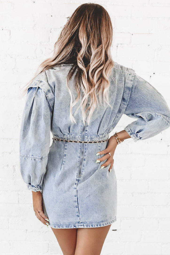 Dare To Denim Acid Wash Denim Dress