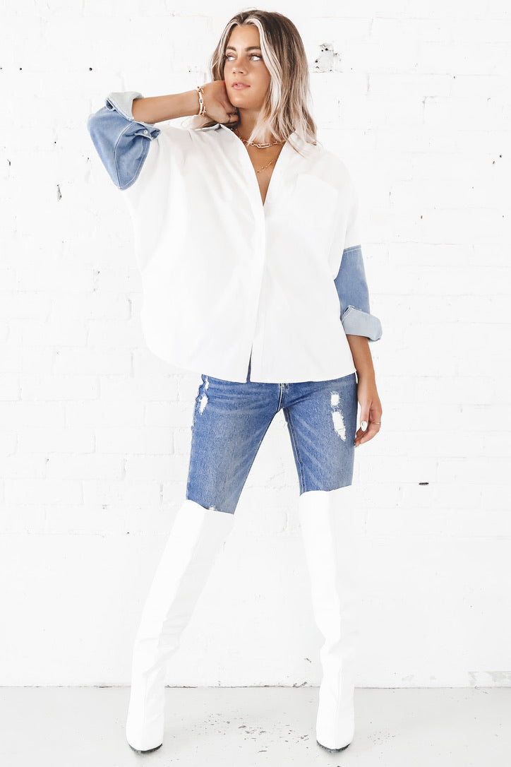 Tell Me About It Denim Contrast Sleeve Button Down Top