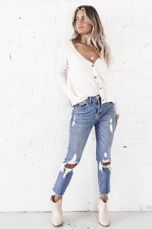 Bottomless Mimosas Distressed High Rise Jeans