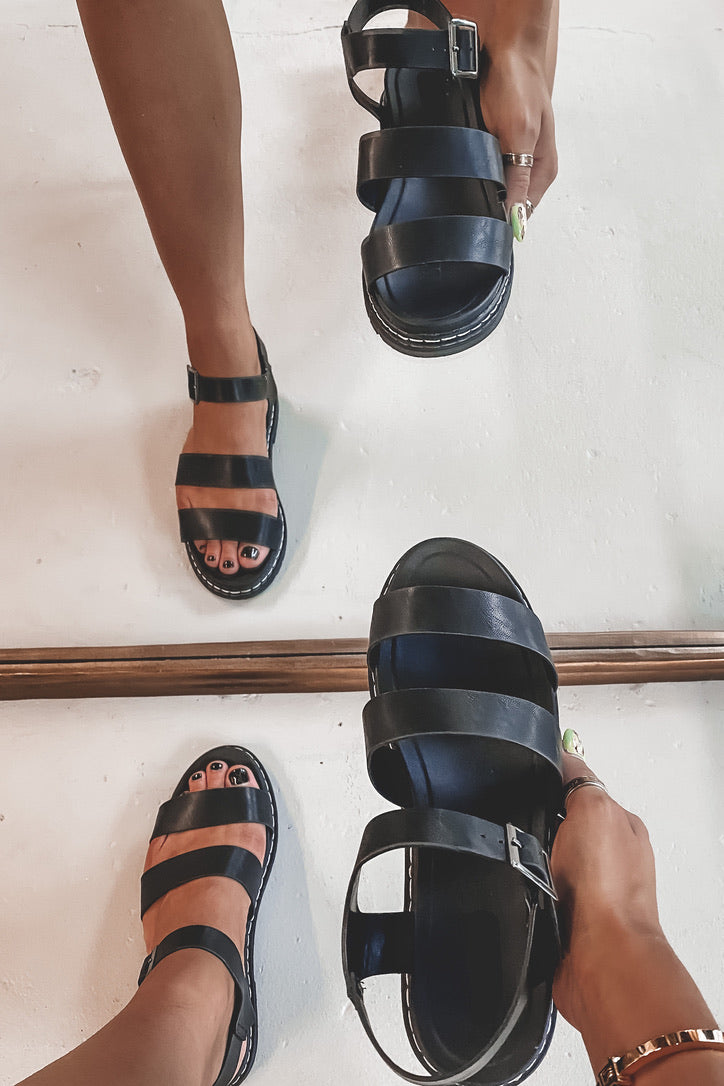 Step Right Up Black Strappy Sandals