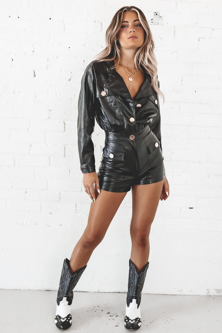 Knew You Were Trouble Black Leather Utility Romper