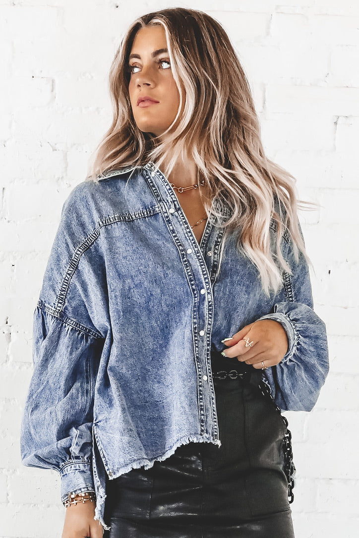 The Thrill Of It All Frayed Denim Shirt