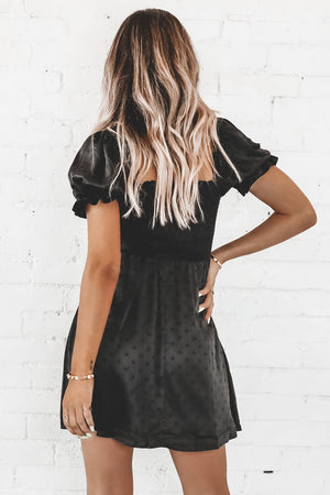 Salt On The Rim Black Satin Polka Dot Dress