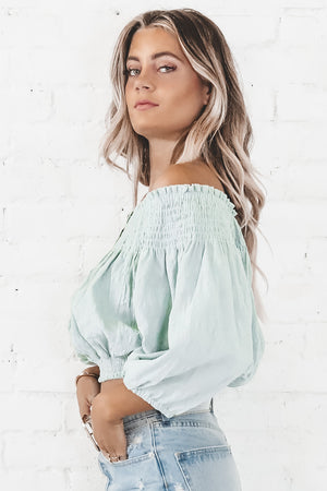 Wildest Dreams Sage Off The Shoulder Top