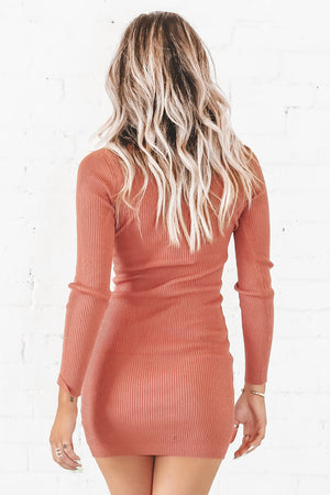 Stole Your Heart Terra Cotta Bodycon Midi Dress
