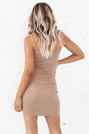 Here We Go Again Khaki Bodycon Dress