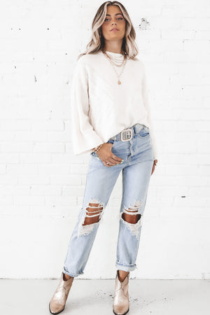 Work It Out Ivory Bell Sleeve Sweater