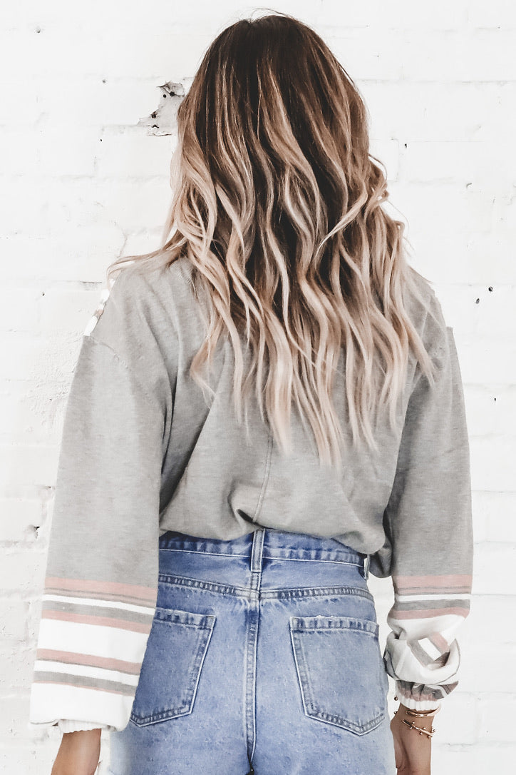 Eskimo Kisses Gray Striped Sweater