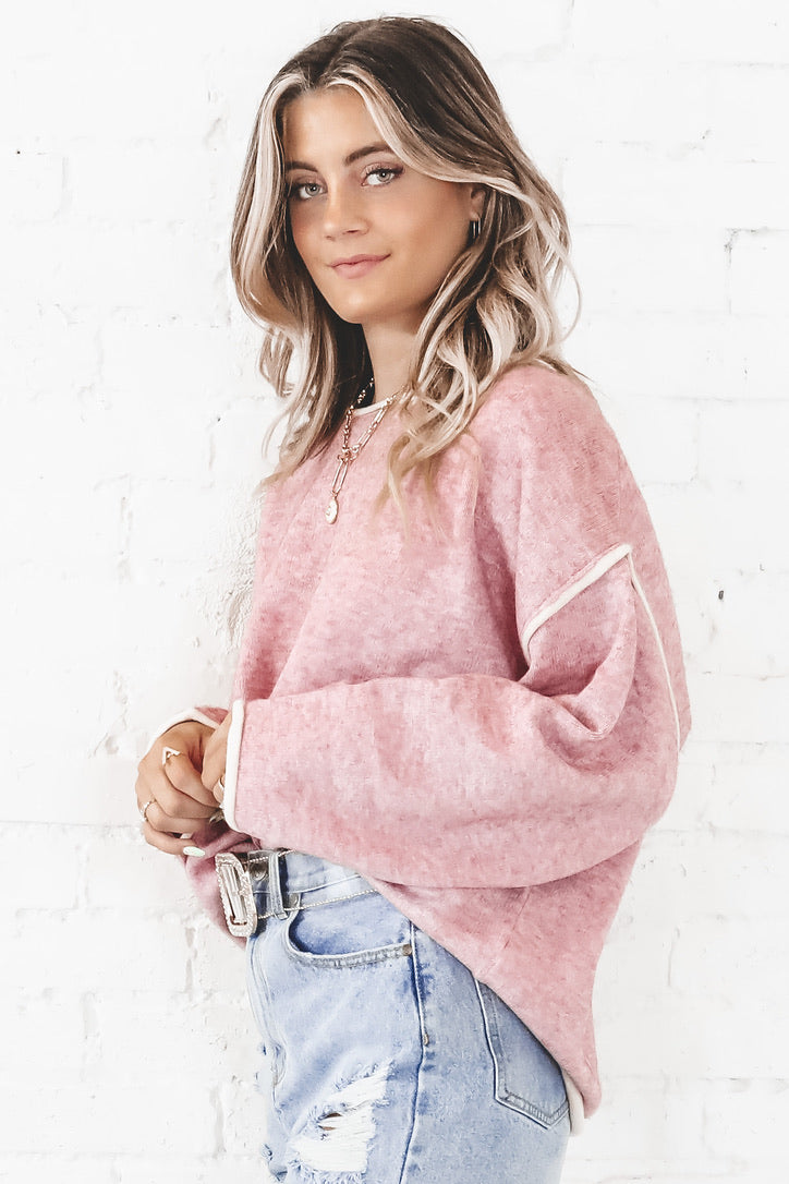 Sugar And Spice Pink Boxy Sweater