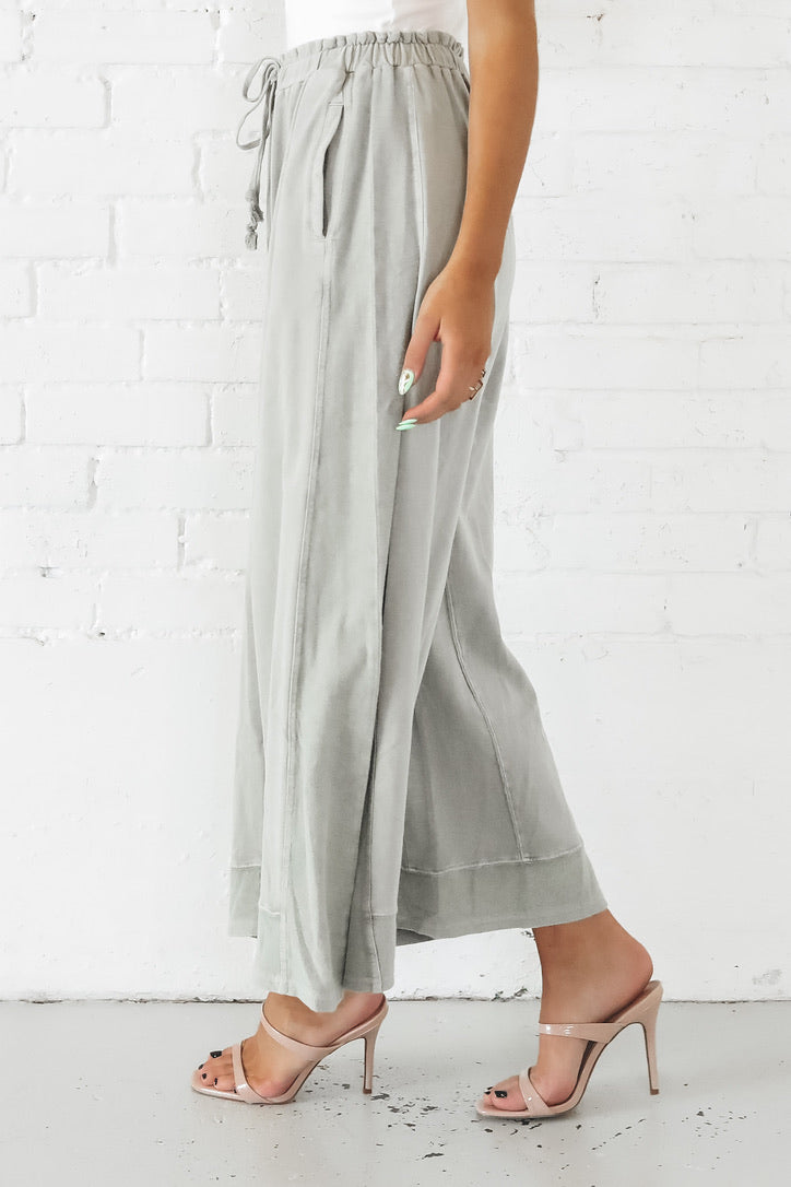 LA Dreamer Faded Olive Wide Leg Knit Pants
