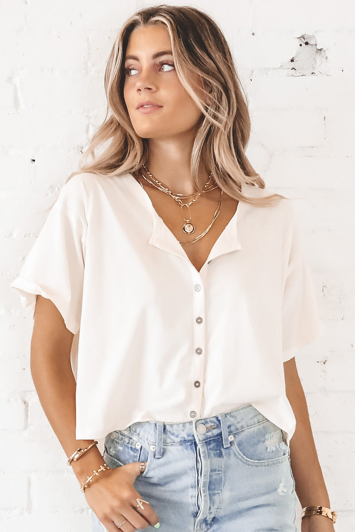 Thinking Of You Natural Button Down Top