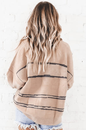 Licensed To Chill Taupe Striped Sweater Cardigan