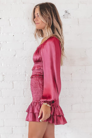 Smock 'Em Down Raspberry Smocked Dress