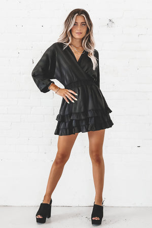 The Show Must Go On Black Ruffle Dress