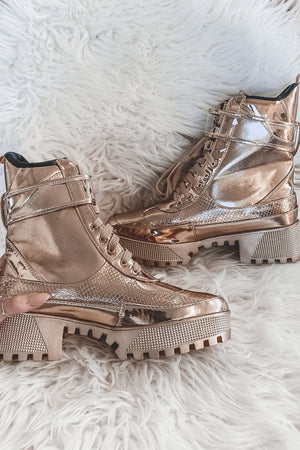 Pop The Bubbly Metallic Champagne Boots