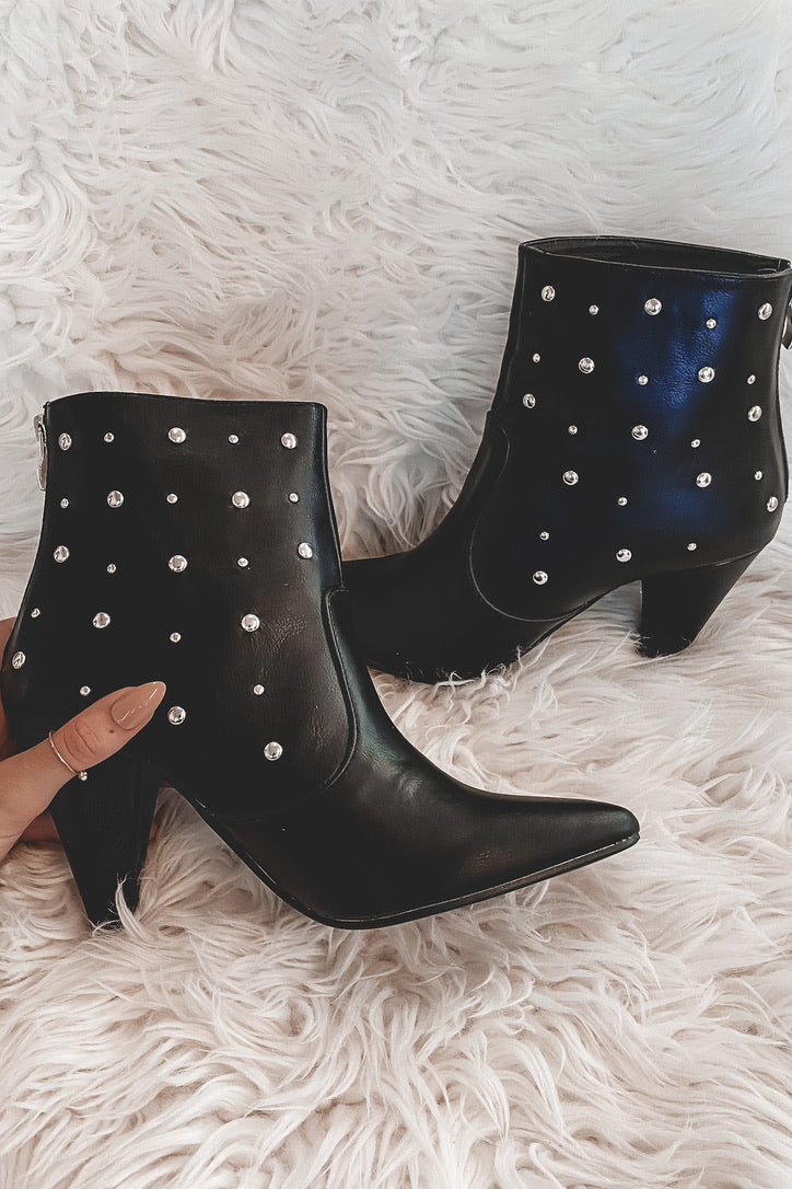 Clap For Me Black Studded Booties