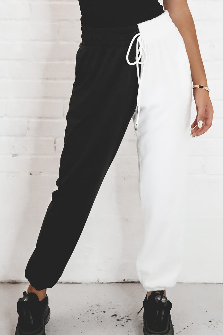 Waiting On You Black And White Colorblock Joggers