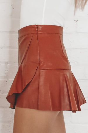 Pour Some Sugar On Me Caramel Leather Skort