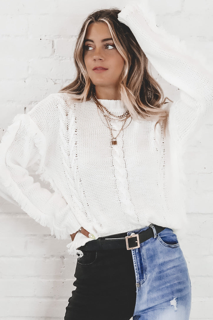 Dusk Til Dawn White Cable Fringe Sweater