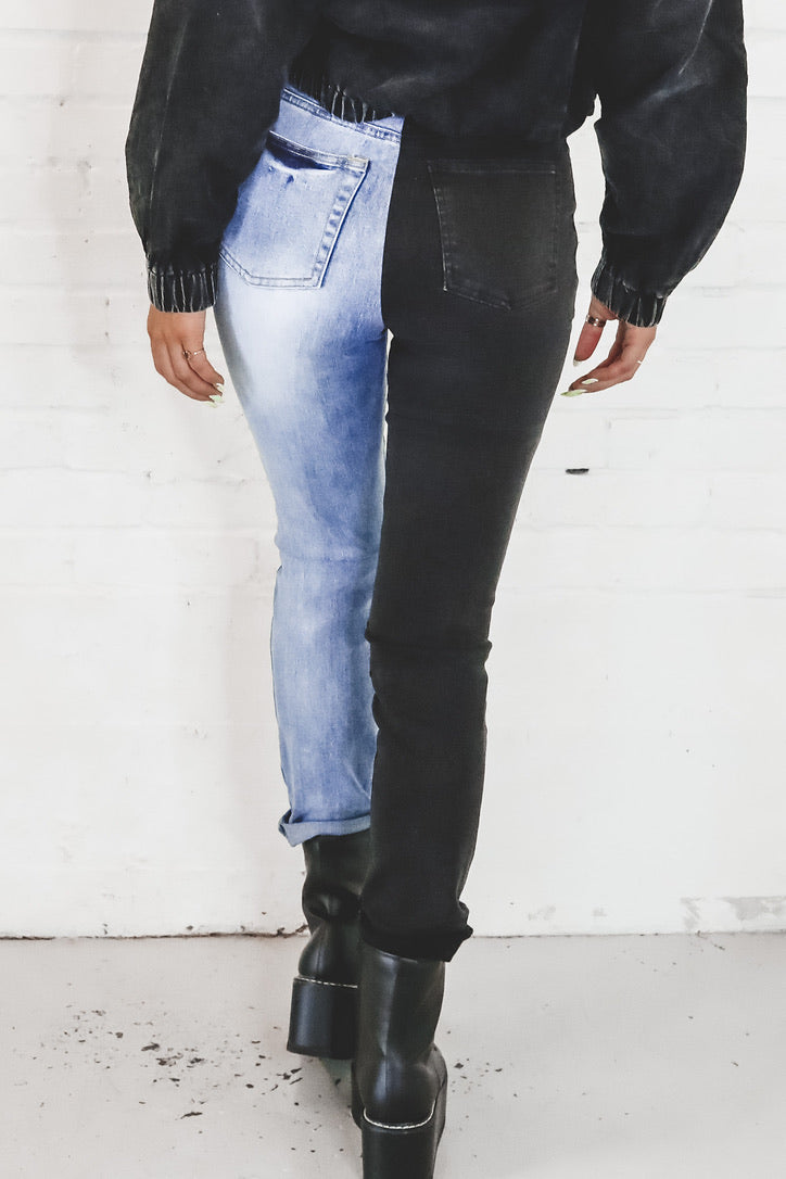 Two Faced Colorblock Black And Denim Jeans