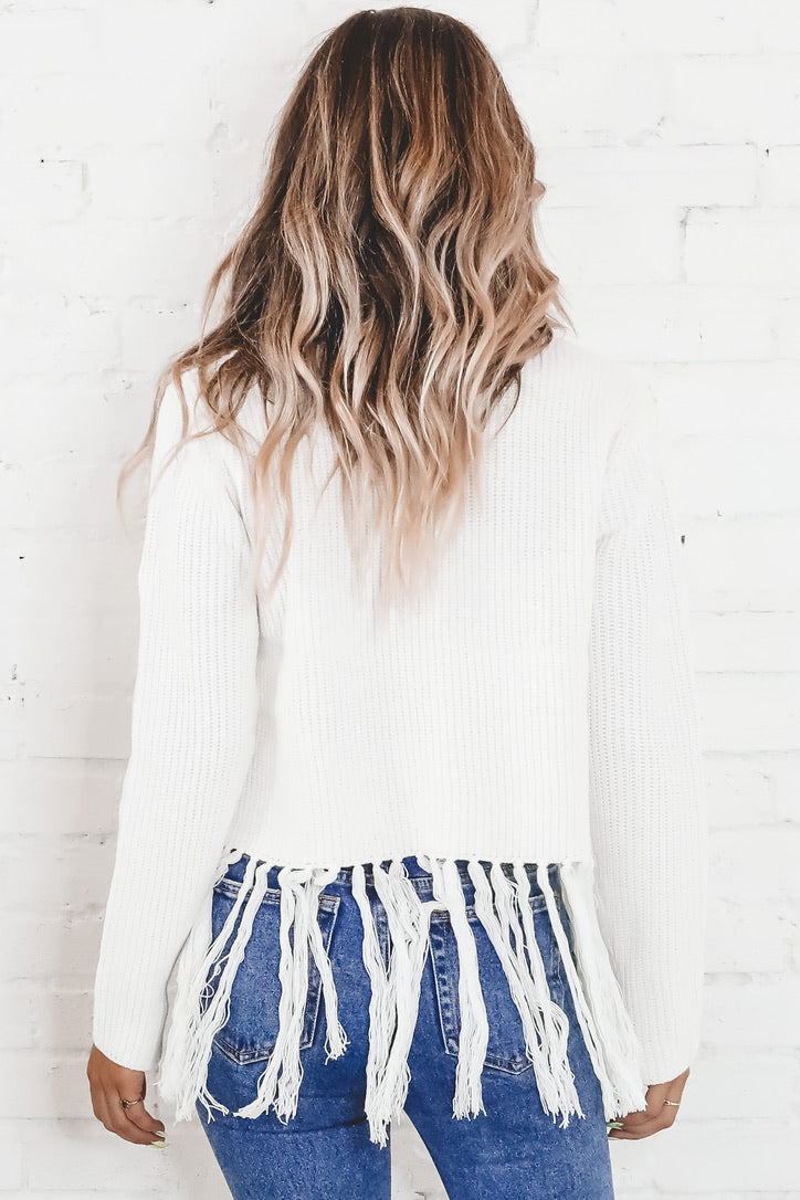 Get To You White Fringe Sweater